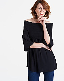Black Shirred Bardot Top