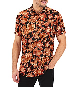 Floral Print Short Sleeve Shirt Long