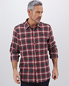 Black/Red Check Flannel Shirt Long