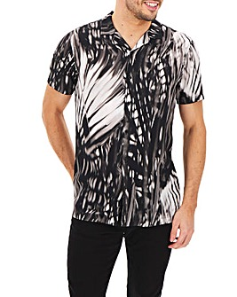Black Printed Short Sleeve Revere Collar Shirt Long
