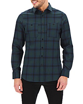 Navy/Green Check Flannel Shirt Long