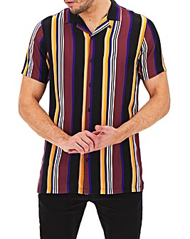 Burgundy Stripe Short Sleeve Revere Collar Shirt Long