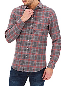 Grey/Pink Check Flannel Shirt Long