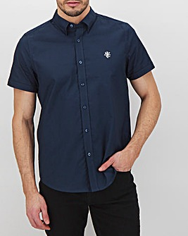 Navy Short Sleeve Stretch Oxford Shirt Long