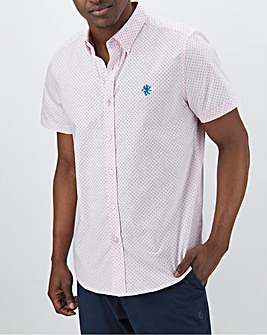 Pink Polka Dot Short Sleeve Stretch Oxford Shirt Long