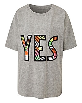 Yes Embellished T-Shirt
