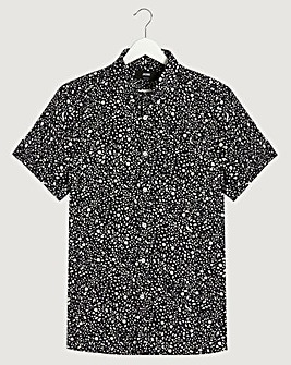 Black Mono Print Short Sleeve Poplin Shirt Reg