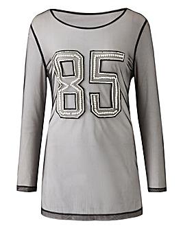 85 Pearl Mesh Long Sleeve Top