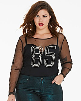 85 Pearl Mesh Long Sleeve Top