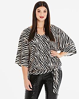 Zebra Print Kimono Sleeve Tie Side Top