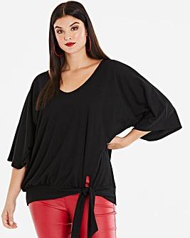 Black Kimono Sleeve Tie Side Top