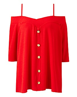 Red Button Bardot Cold Shoulder Top