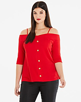Red Bardot Cold Shoulder Top