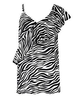 Zebra Print One Shoulder Top