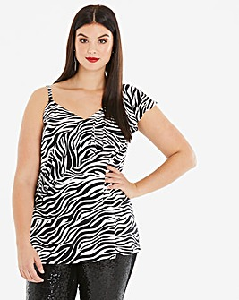 Zebra Print One Shoulder Top