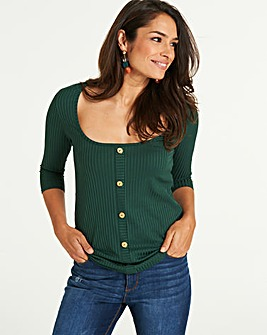 Green Rib Button Down 3/4 Sleeve Top