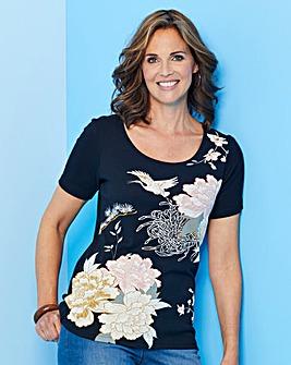 Black Floral Short Sleeve T-Shirt