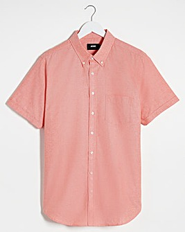 Peach Short Sleeve Oxford Shirt Long