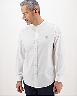 White Stretch Grandad Oxford Shirt