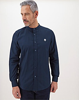 Navy Stretch Grandad Oxford Shirt