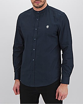 Navy Long Sleeve Stretch Grandad Oxford Shirt Long