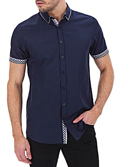 Navy Short Sleeve Double Collar Shirt Long