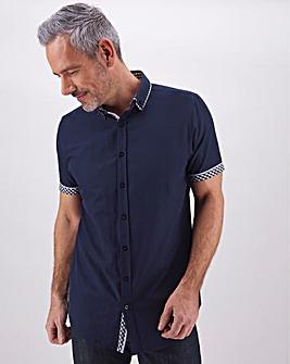 Navy Short Sleeve Double Collar Shirt Long