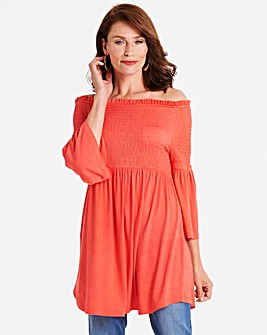 Coral Shirred Bardot Top