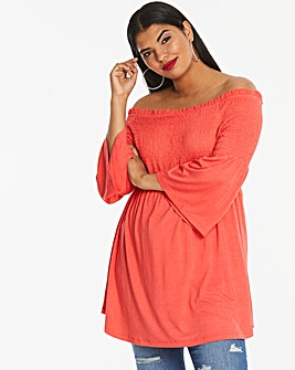 Longer Length Coral Shirred Bardot Top