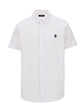White Short Sleeve Stretch Oxford Shirt Long