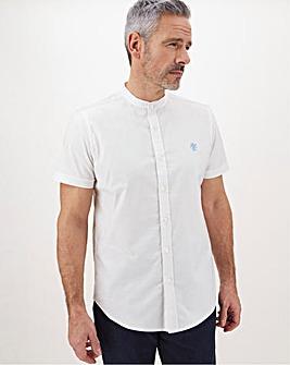 White Stretch Grandad Oxford Shirt Long