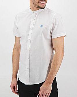 White Short Sleeve Stretch Grandad Oxford Shirt Long