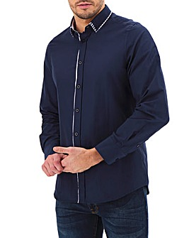 Navy Long Sleeve Double Collar Shirt Long