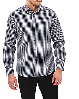 Navy Check Double Collar Shirt Long