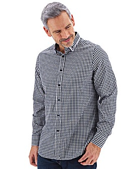 Navy Check Long Sleeve Double Collar Shirt Long
