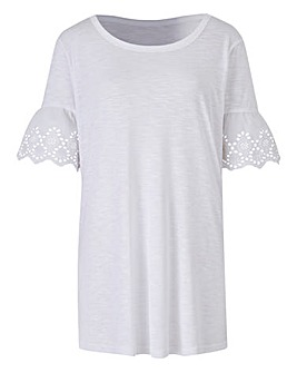 Broderie Trim Sleeve T-Shirt