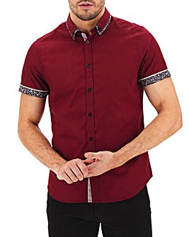 Wine Short Sleeve Double Collar Shirt Long