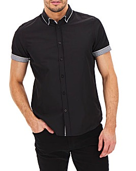 Black Short Sleeve Double Collar Shirt Long