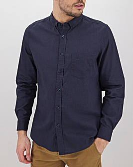 Navy Long Sleeve Linen Mix Shirt Long
