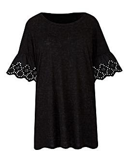 Black Broderie Sleeve T-Shirt