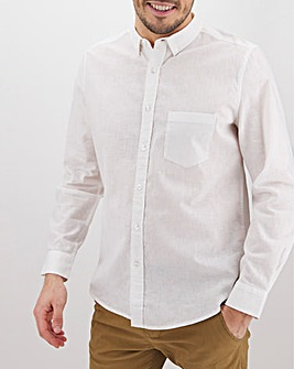 White Long Sleeve Linen Mix Shirt Long