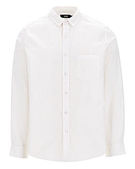 White Long Sleeve Linen Mix Shirt