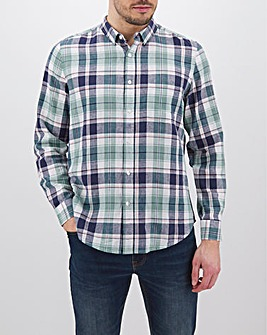 Green Check Long Sleeve Linen Mix Shirt