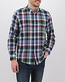 Multi Check Long Sleeve Linen Mix Shirt Long