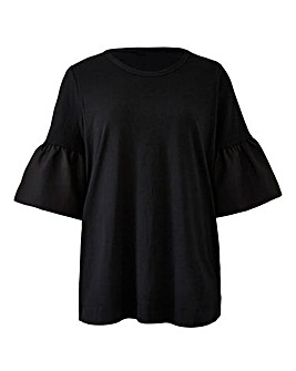 Woven Sleeve Black Top