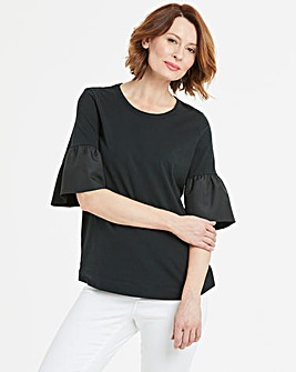 Woven Sleeve Black Top