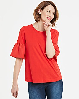 Woven Sleeve Red Top