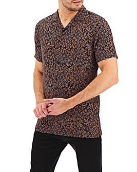 Navy Print Short Sleeve Revere Collar Shirt Long