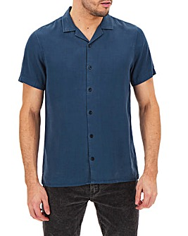 Blue Short Sleeve Garment Dyed Revere Collar Shirt Long