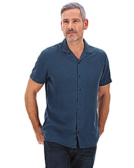 Blue Garment Dyed Revere Shirt Long
